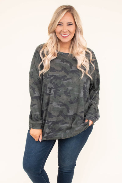shirt, long sleeve, curved hem, waffle knit, loose, green, camo, comfy, fall, winter