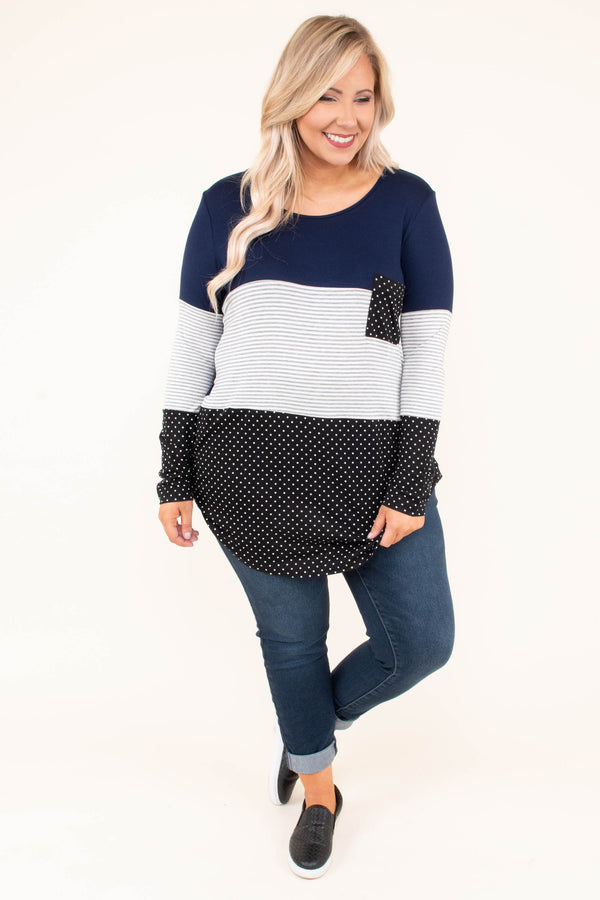 shirt, long sleeve, curved hem, long, chest pocket, navy, white, gray, black, polka dots, stripes, colorblock, comfy, fall, winter