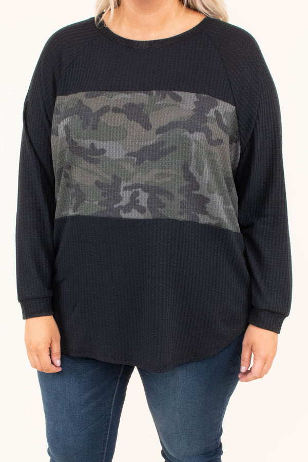 shirt, long sleeve, curved hem, waffle knit, loose, black, green, camo, colorblock, comfy, fall, winter