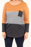 shirt, long sleeve, curved hem, scoop neck, chest pocket, mustard, white, charcoal, stripes, colorblock, comfy, fall, winter