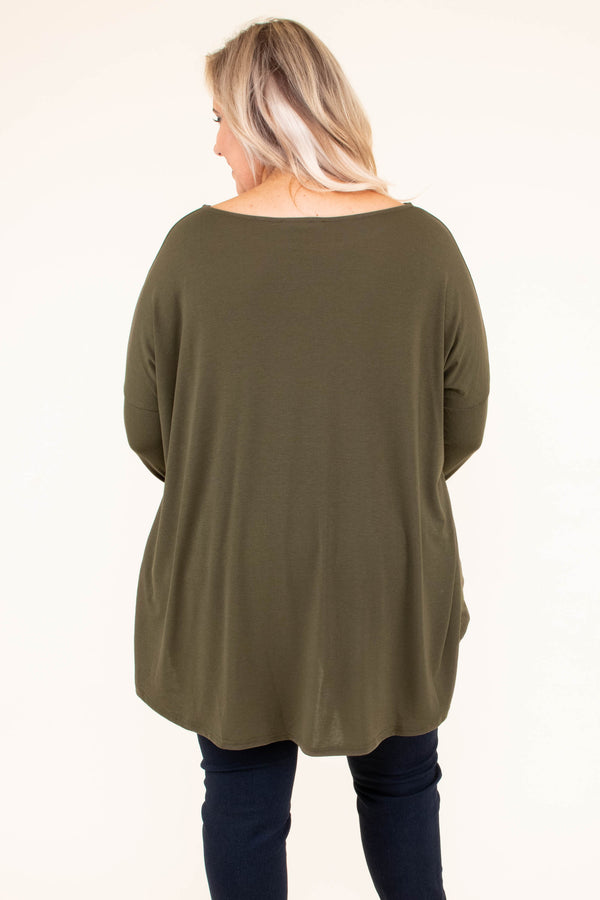 tunic, long sleeve, short, flowy, olive, comfy, fall, winter