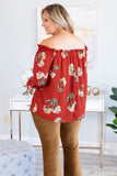 blouse, long sleeve, off the shoulder, ruffle neckline, flowy, orange, floral, green, tan