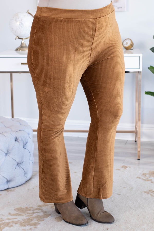 pants, long, flare, corduroy, camel, comfy, fall, winter