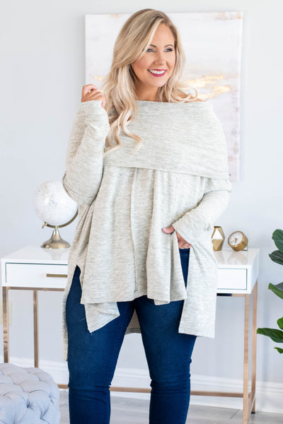 tunic, long sleeve, off the shoulder, folded over neck, asymmetrical hem, side slits, flowy, oatmeal, heathered, comfy, fall, winter