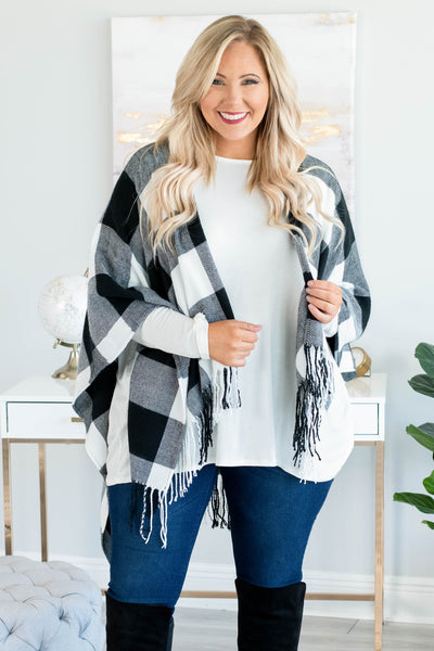 Sipping Cider Poncho, White-Black