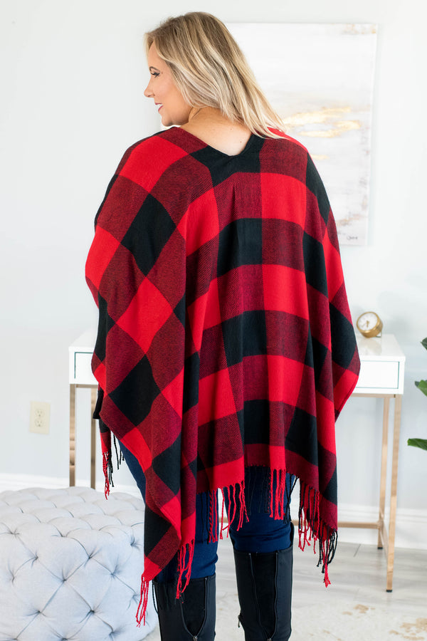 poncho, three quarter sleeve, open front, fringe, asymmetrical hem, flowy, outerwear, red, black, plaid, comfy, fall, winter