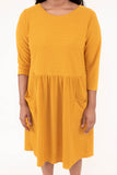 dress, short, three quarter sleeve, pockets, textured, flowy, mustard, comfy, fall