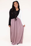dress, maxi, long sleeve, flowy, black, white, mocha, comfy, fall, winter
