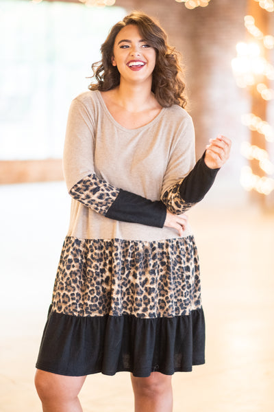 dress, short, long sleeves, brown, black, leopard, colorblock, ruffles, flowy, fall, winter