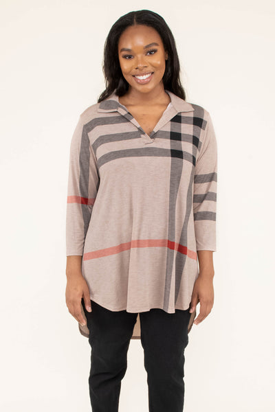 tunic, three quarter sleeve, vneck, collared, curved hem, long back, taupe, black, red, plaid, flowy, comfy, fall, winter