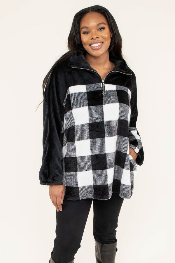 pullover, long sleeve, quarter zip, fuzzy, black, white, plaid, comfy, outerwear, fall, winter
