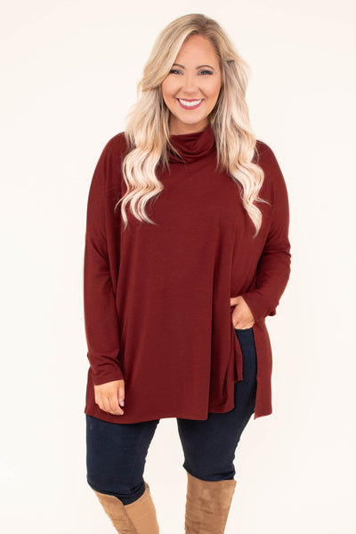 tunic, long sleeve, cowl neck, side slits, flowy, red, solid, comfy, fall, winter