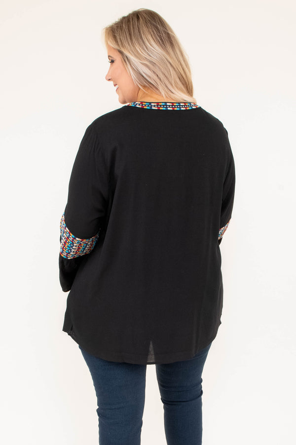 tunic, long sleeve, bell sleeves, vneck, black, embroidery, red, blue, yellow, white, comfy, fall, winter