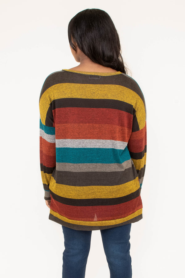 shirt, long sleeve, vneck, loose, gray, teal, orange, red, brown, mustard, striped, comfy, fall, winter