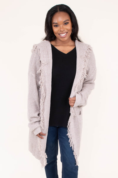 cardigan, long sleeve, hood, fringe, long, sweater, oatmeal, comfy, outerwear, fall, winter