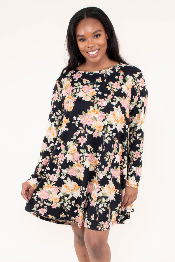 dress, short, long sleeve, flowy, black, floral, yellow, white, green, pink, comfy, fall, winter