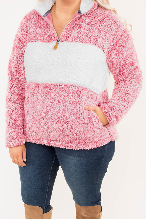 pullover, long sleeve, pockets, quarter zip, fuzzy, white, pink, colorblock, comfy, outerwear, fall, winter