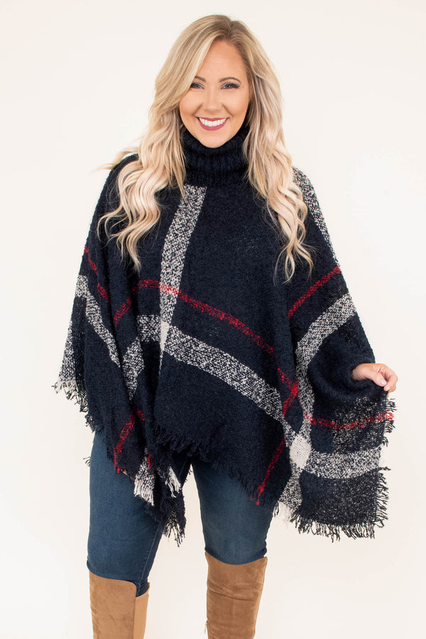 poncho, long sleeve, fringe, turtleneck, asymmetrical hem, flowy, navy, white, red, plaid, outerwear, comfy, fall, winter