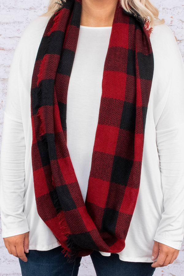scarf, infinity, fringe, red, black, plaid, comfy, fall, winter