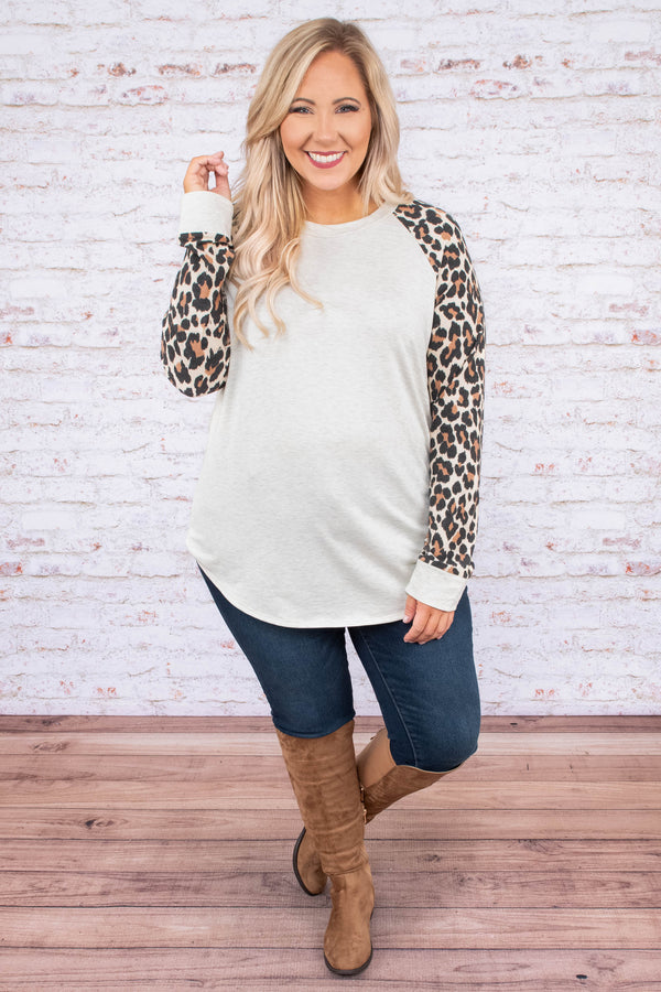 shirt, long sleeve, curved hem, white, leopard sleeves, brown, black, comfy, fall, winter