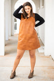 dress, short, sleeveless, vneck, faux leather, camel, loose