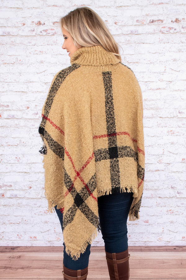 poncho, long sleeve, fringe, turtleneck, asymmetrical hem, flowy, khaki, black, red, plaid, outerwear, comfy, fall, winter