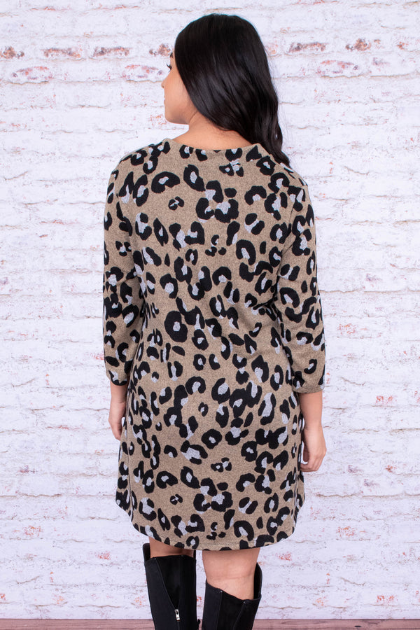 dress, short, three quarter sleeve, vneck, pockets, flowy, taupe, black, leopard, comfy, fall, winter