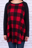 tunic, long sleeve, curved hem, flowy, red, black, plaid, black sleeves, comfy, fall, winter