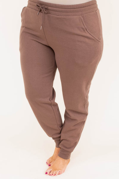pants, long, fitted ankle, drawstring waist, brown, comfy, loungewear