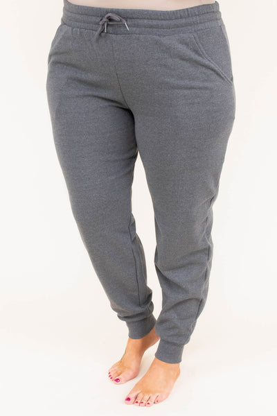 pants, long, fitted ankle, drawstring waist, gray, comfy, loungewear