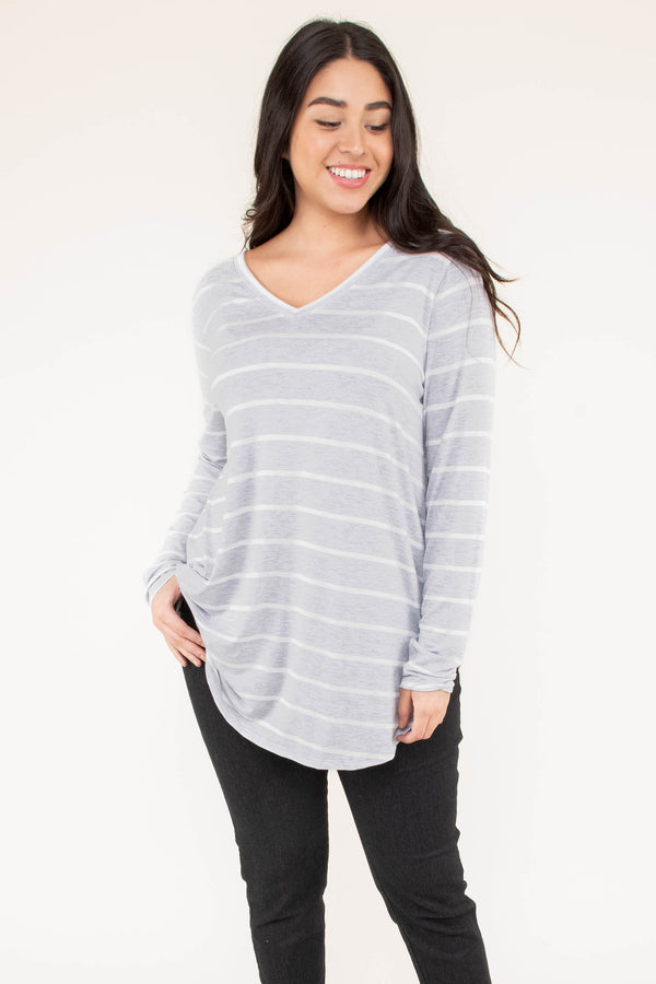 shirt, long sleeve, vneck, curved hem, flowy, long, gray, white, striped, comfy, fall, winter