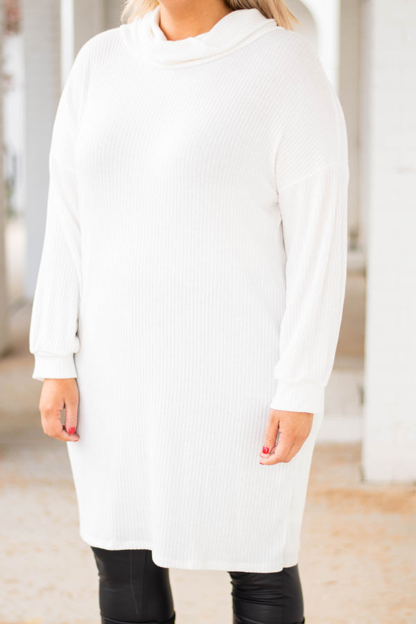 dress, short, long sleeve, cowl neck, sweater, fitted, white, comfy, fall, winter