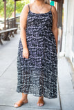 dress, maxi, sleeveless, spaghetti straps, flowy, black, floral, white, comfy