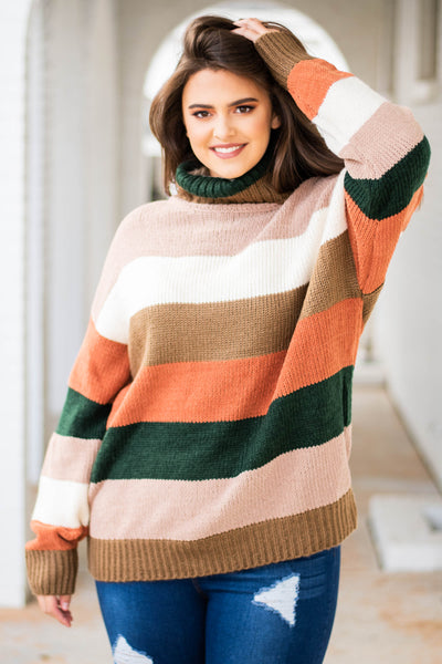 sweater, long sleeve, turtle neck, brown, peach, green, orange, white, striped, comfy, fall, winter