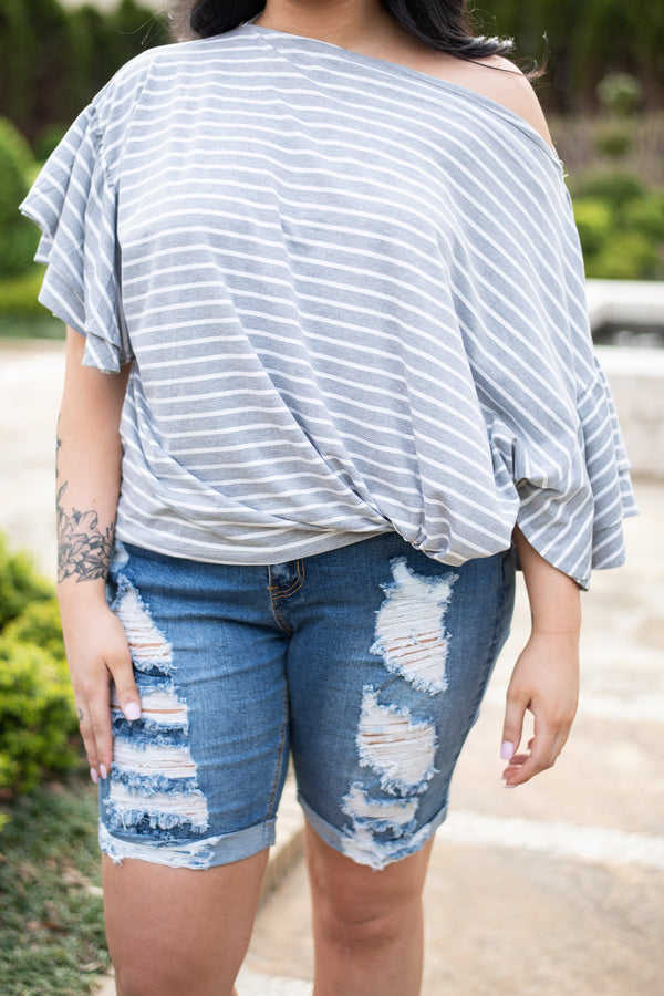 Give Me The Deets Top, Heather Gray