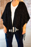 shawl, black, short sleeve, soft, fringe, fall, winter, flowy, outerwear, cozy, comfy, fuzzy