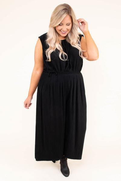 romper, sleeveless, long pants, wide pants, high neck, fitted waist, black, comfy