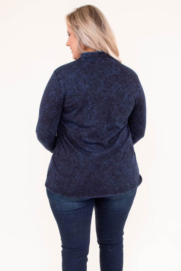 shirt, long sleeve, turtleneck, simple, navy, heathered, comfy, fall, winter