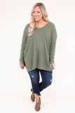 tunic, long sleeve, vneck, ribbed, long, flowy, side slits, green, comfy, fall, winter