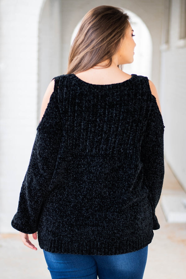 sweater, long sleeve, cold shoulder, short, fuzzy, black, comfy, fall, winter