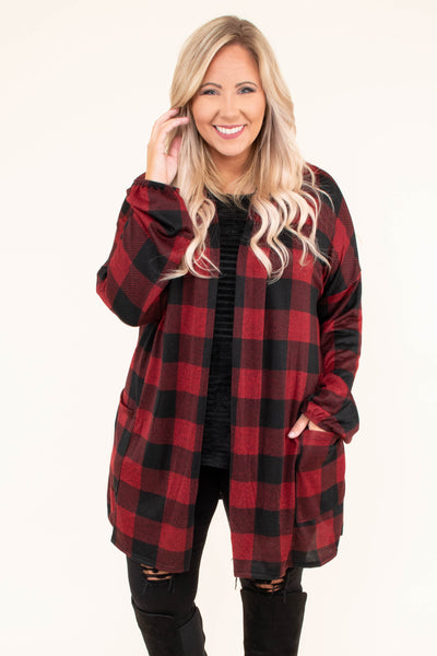 cardigan, long sleeve, long, flowy, pockets, red, black, plaid, comfy, fall, winter