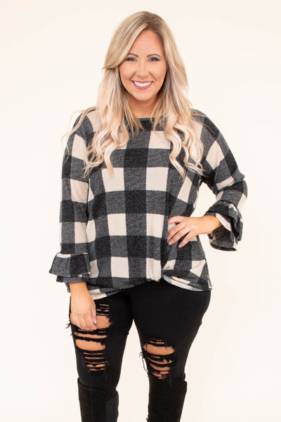 shirt, long sleeve, twisted hem, ruffle cuffs, short, black, white, plaid, comfy, fall, winter