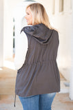 vest, drawstring waist, hood, pockets, gray, solid, zipper, snaps, outerwear, fall, winter