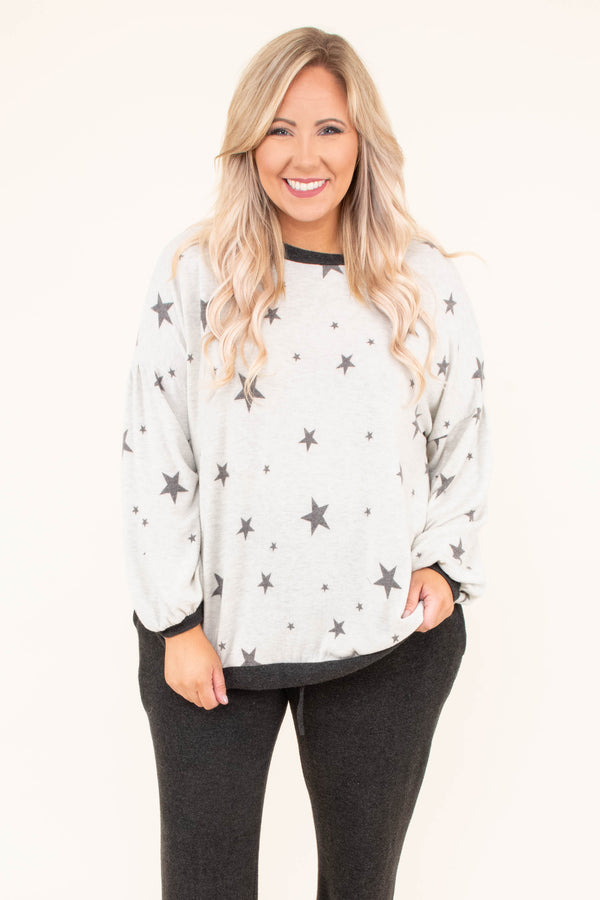shirt, long sleeve, bubble sleeves, fitted waistband, loose, comfy, white, stars, charcoal