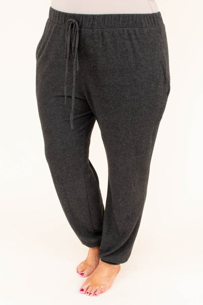 pants, lounge, drawstring waist, pockets, fitted ankles, comfy, charcoal