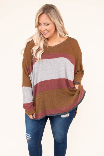 tunic, long sleeve, vneck, longer back, flowy, long, camel, red, gray, colorblock, comfy, fall, winter