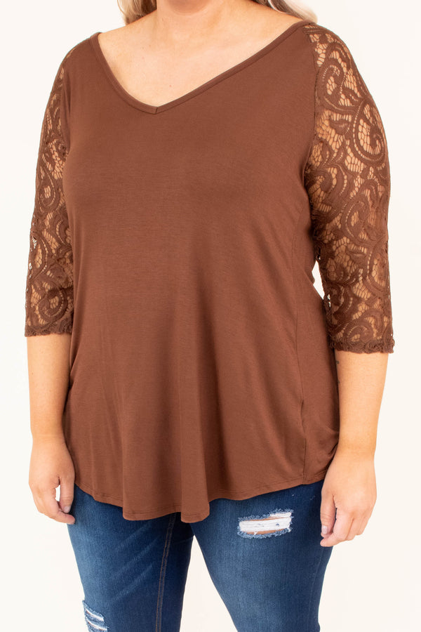 shirt, three quarter sleeve, vneck, curved hem, lace sleeves, flowy, brown, comfy