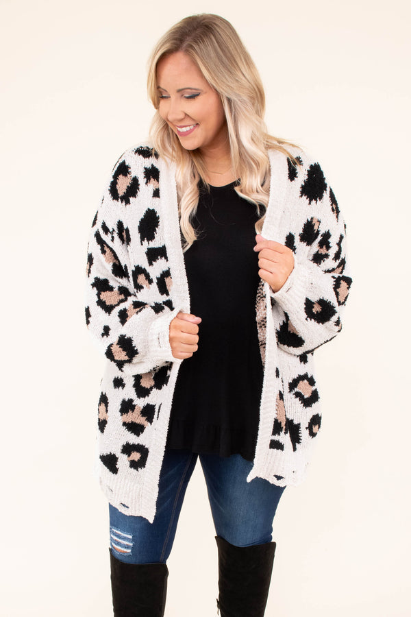 cardigan, long sleeve, long, distressed hems. white, tan, black, leopard, comfy, fall, winter