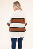 sweater, long sleeve, white, rust, navy, colorblock, comfy, fall, winter