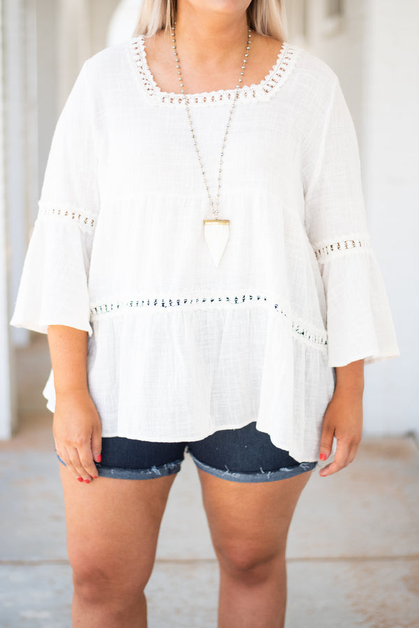 shirt, three quarter sleeve, square neckline, bell sleeves, flowy, white, lace details, tie back, airy